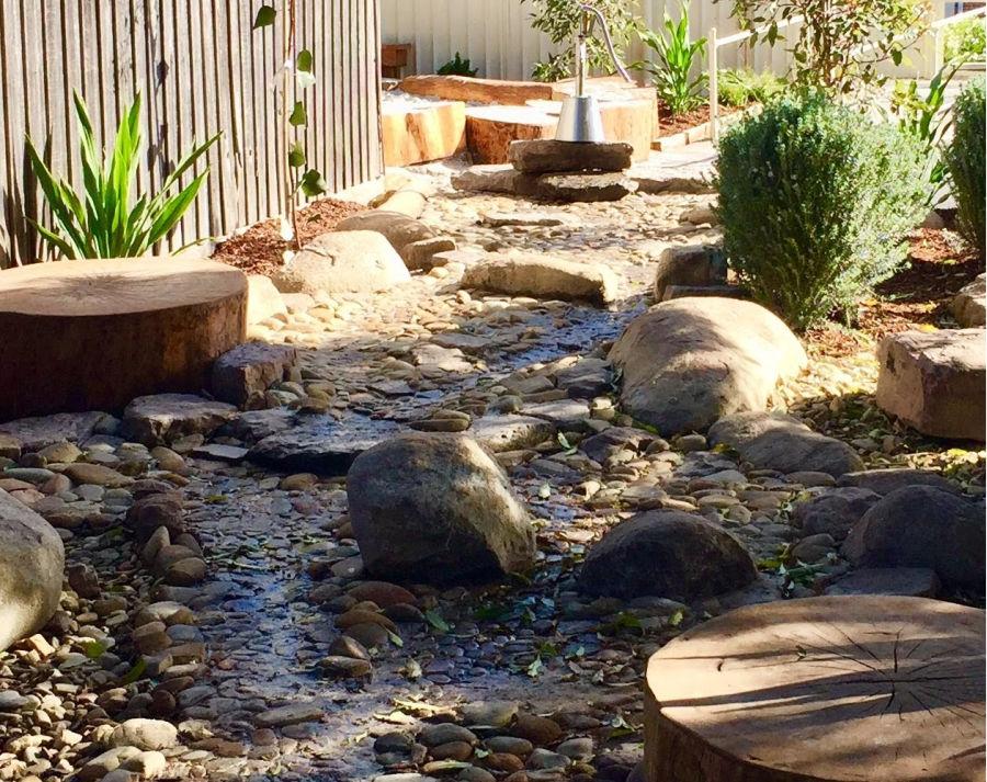 creek bed towards water pump