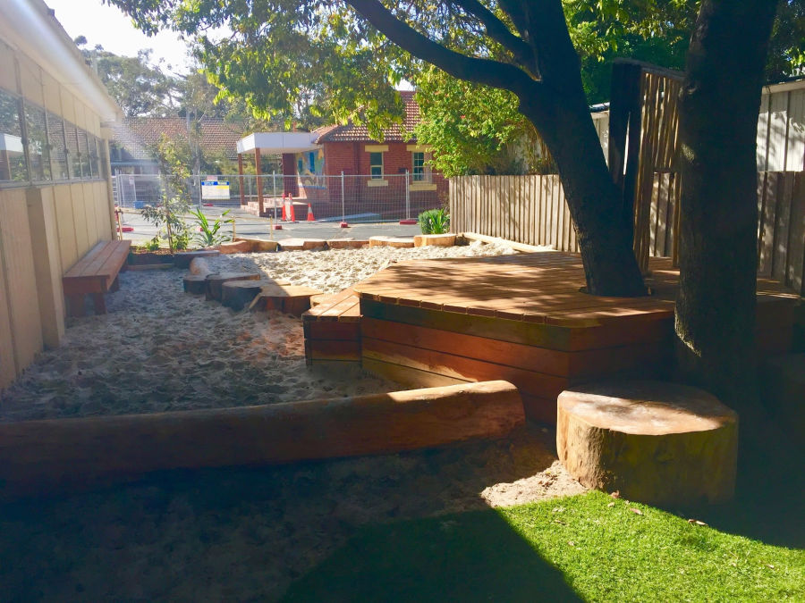 logs sand pit