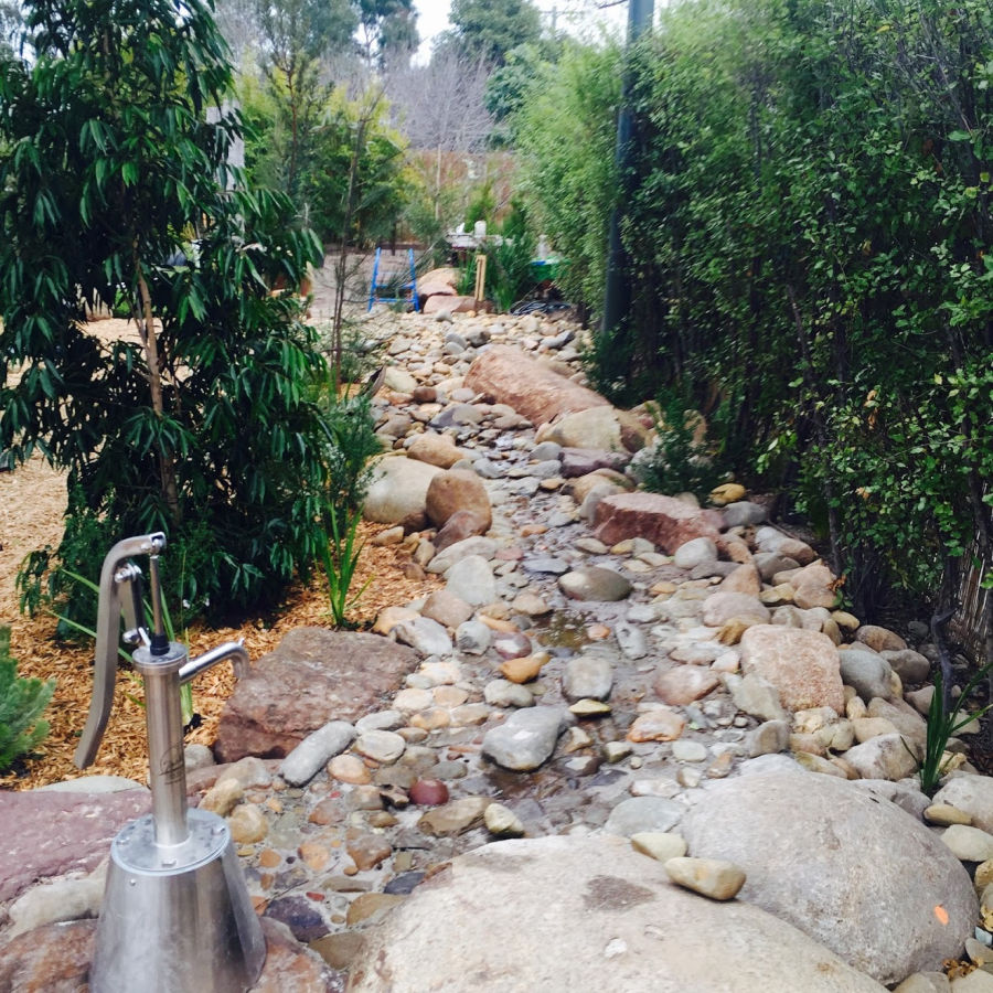 Water pumps and creek beds stimulate children's creativity and development