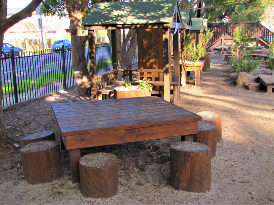 wooden bench with seats
