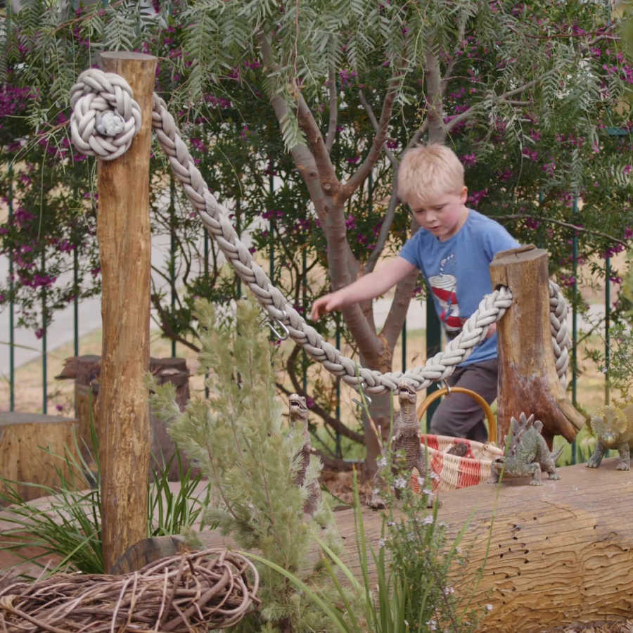 Boy in nature discovery space